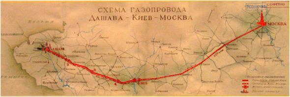 Схема газопровода Дашава-Киев-Москва. 1946 г. Ранее все же Украина снабжала газом Москву.