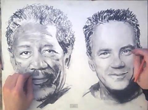 Художник, рисующий двумя руками одновременно
