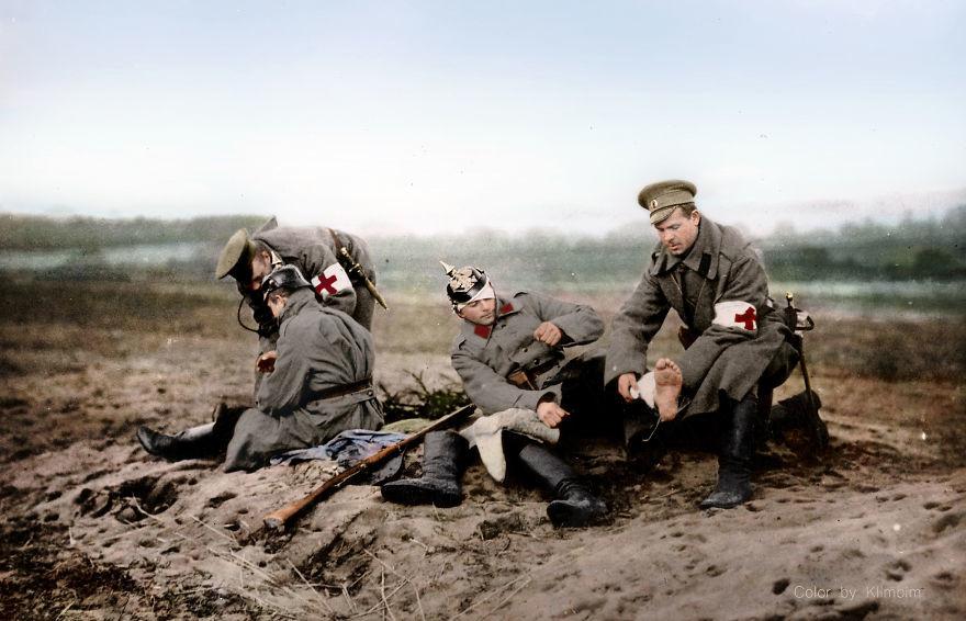 Российский Красный крест на фронте Первой мировой войны. время, россия, фотография, цвет