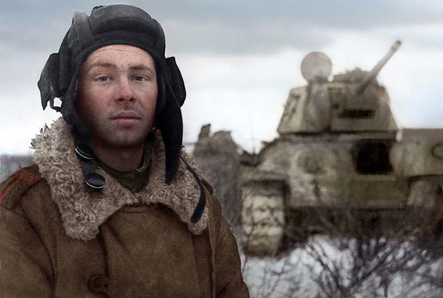 Танкист Михаил Смирнов, 1944 год время, россия, фотография, цвет