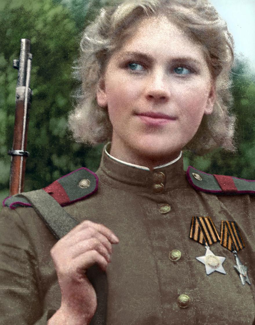 Советский снайпер Роза Шанина, время, россия, фотография, цвет