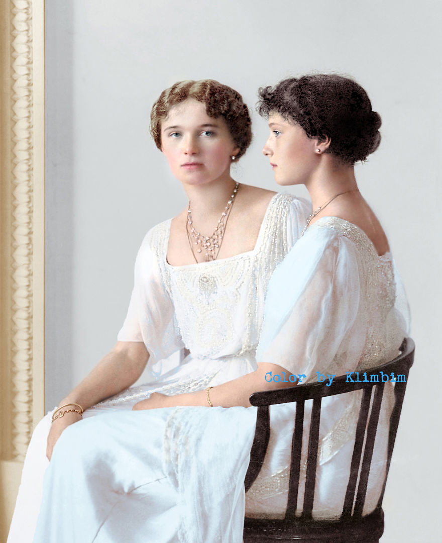 Ольга и Татьяна Романовы, 1900-е время, россия, фотография, цвет
