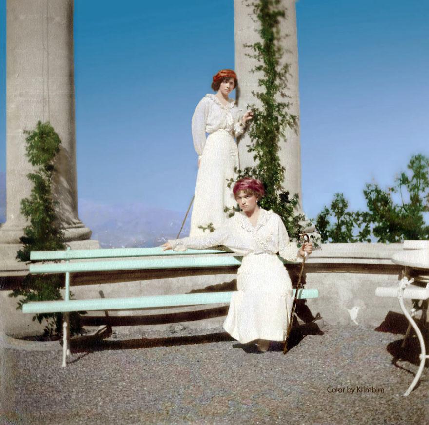 Княгини Ольга и Татьяна Романовы, Ливадия, Крым, 1914 год время, россия, фотография, цвет