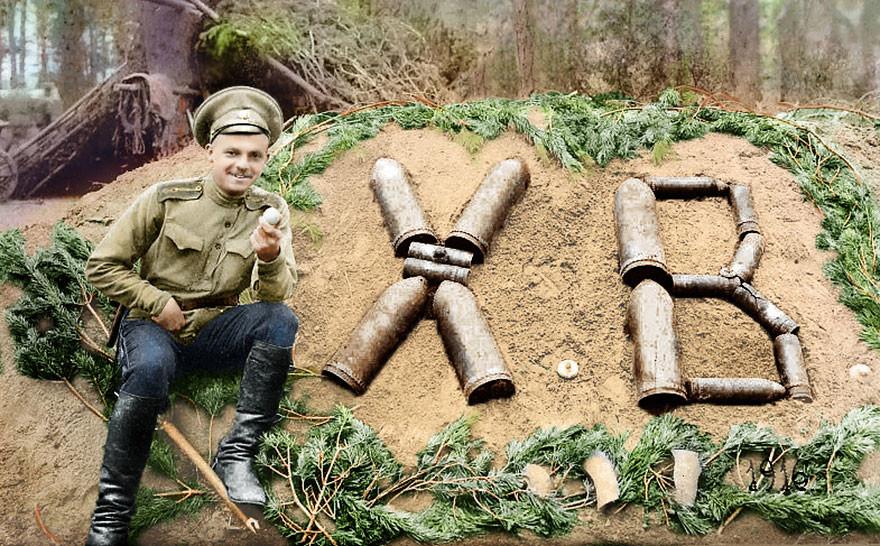 Пасха на фронте, 1916 год время, россия, фотография, цвет