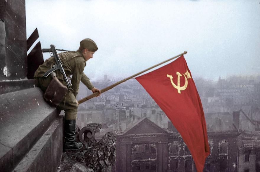 Советский флаг над Берлином, 1945 год время, россия, фотография, цвет