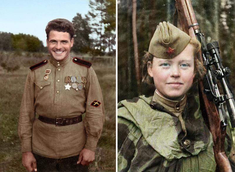 Артиллерист и советский снайпер Надежда Колесникова, 1943 год