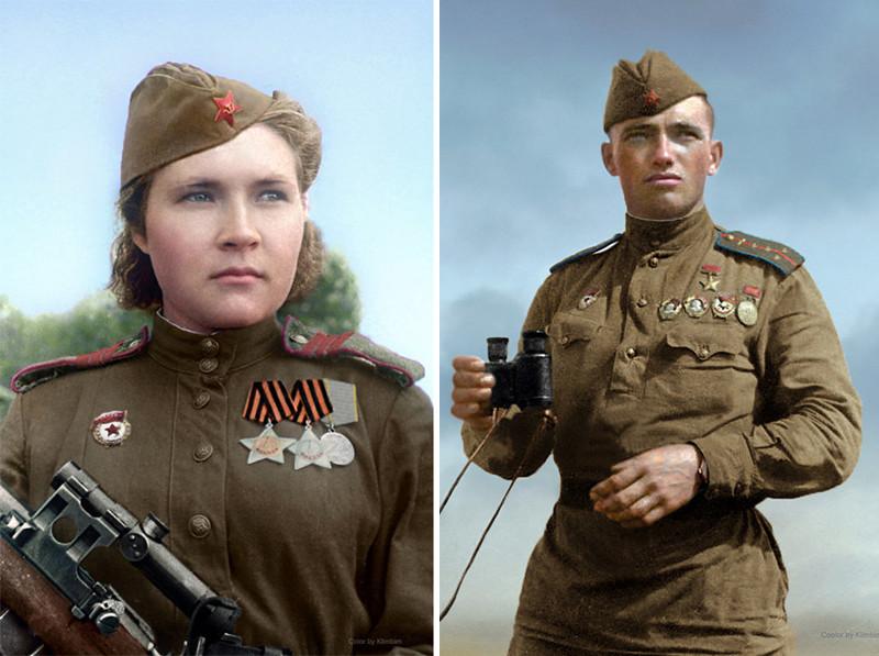 Советский снайпер Любовь Макарова и Герой Советского Союза Дмитрий Назаренко