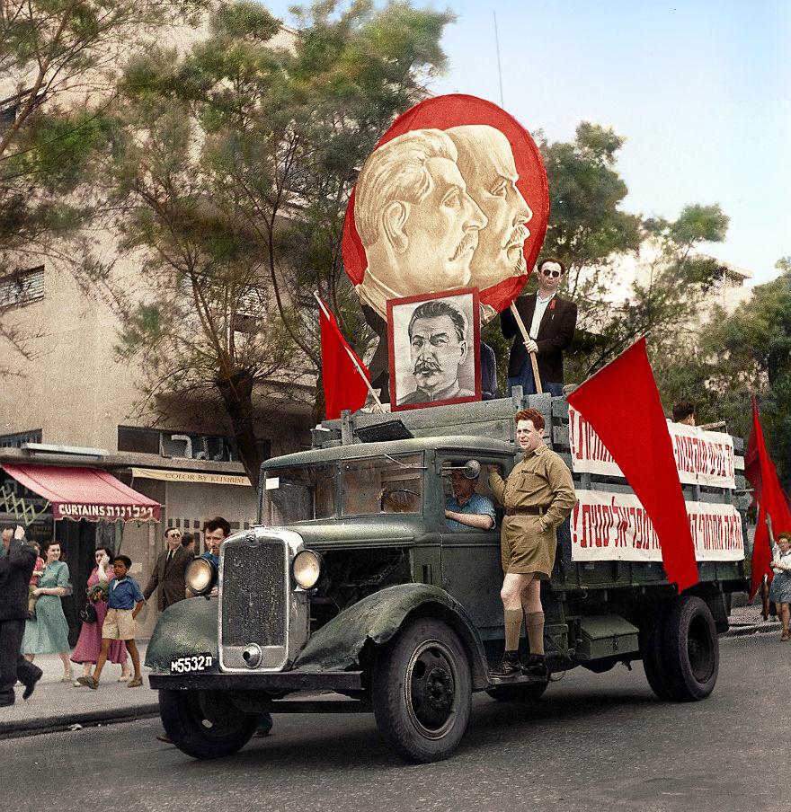 Демонстрация в Тель–Авиве, 1947 год время, россия, фотография, цвет