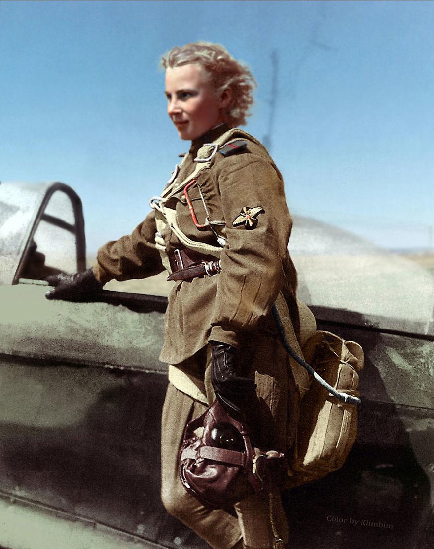 Лидия Литвяк, летчик-истребитель, Вторая мировая война, 1941 год время, россия, фотография, цвет