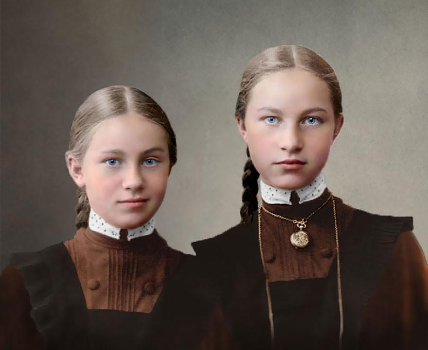 Гимназистки, 1900-1917 год время, россия, фотография, цвет