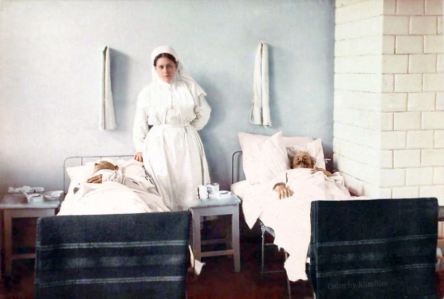 Медсестра, 1914-1916 год время, россия, фотография, цвет