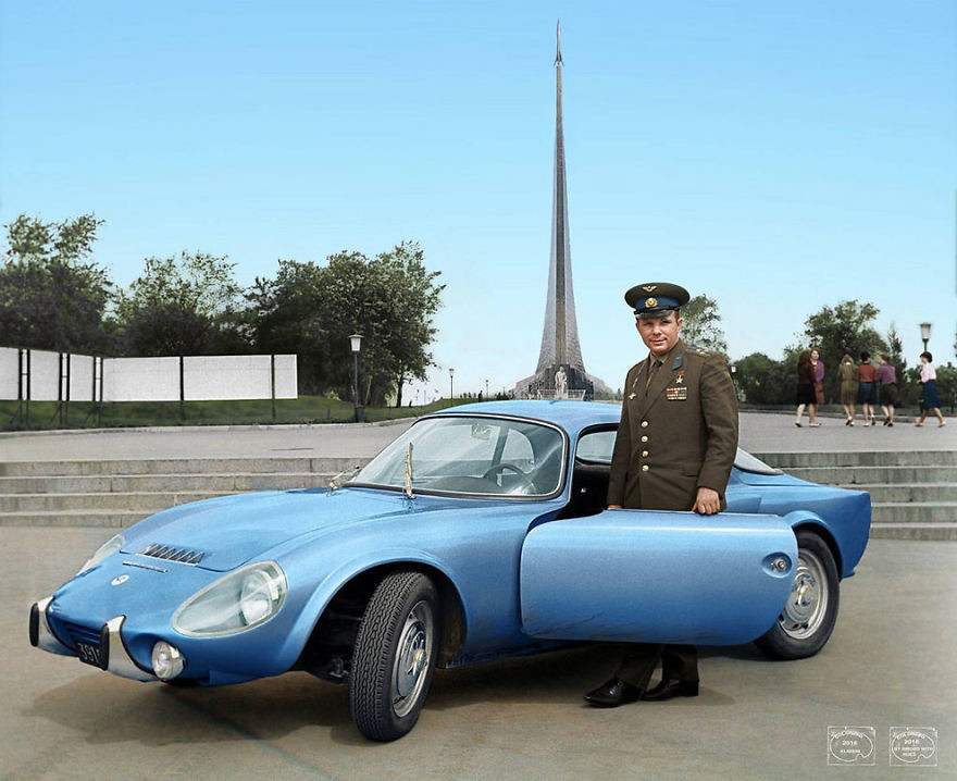 Юрий Гагарин и его Matra Bonnet Djet VS coupe, 1965 год время, россия, фотография, цвет
