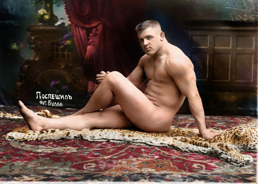 Борец Карл Поспешил, 1912 год время, россия, фотография, цвет