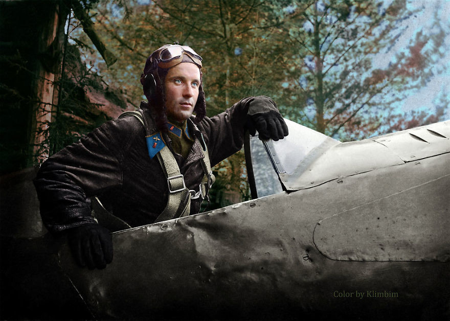 Александр Георгиевич Пронин, советский летчик-истребитель, 1942 год время, россия, фотография, цвет