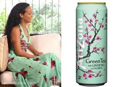 платье женщины и оформление банки с напитком