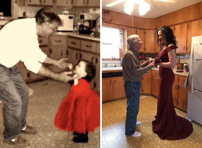 18 фотографий, на которых семьи повторили свои снимки из прошлого и на минутку вернулись в детство