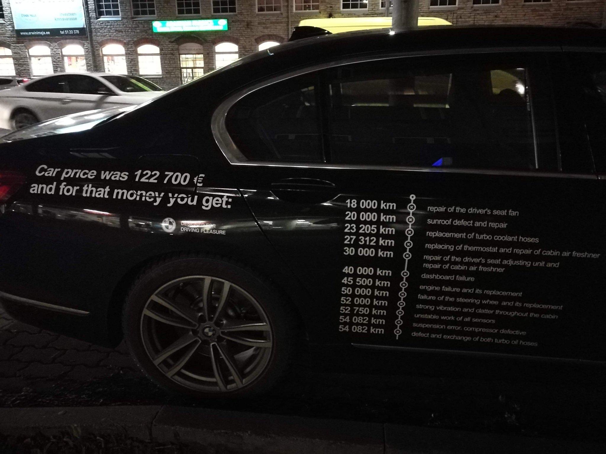 Владелец BMW два года ремонтировал машину. В конце концов он не выдержал — и нанес список всех поломок прямо на кузов автомобиля