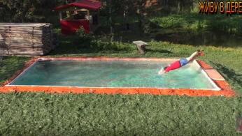 Как сделать большой бассейн из досок своими руками за 1200 рублей