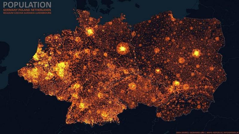 Карта плотности 1 Германия, Польша, Нидерланды, Бельгия, Чехия, Словакия, Люксембур