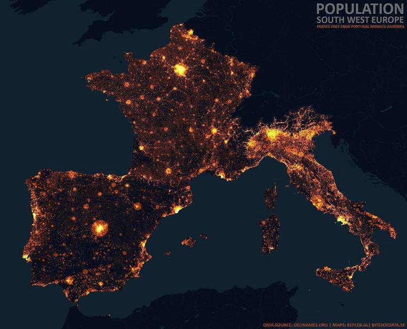 Карта плотности Южная и Западная Европа (Франция, Италия, Испания, Португалия и ещё мелкие всякие типа Монако, Сан-Марино, Ватикан)
