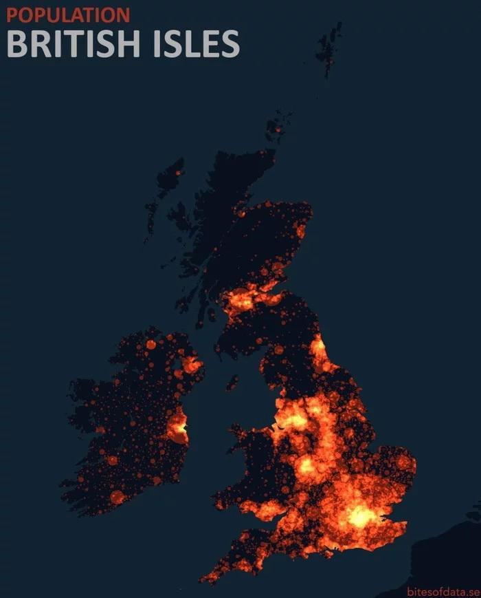 Карта плотности Великобритания и Ирландия