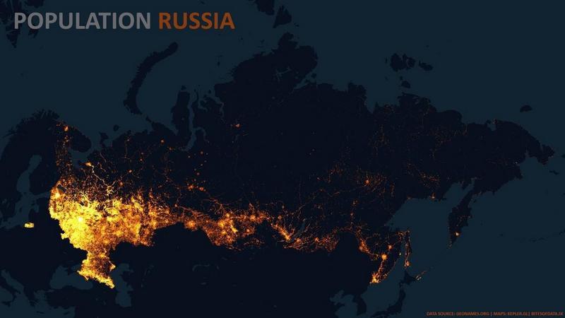 Карта плотности населения России,