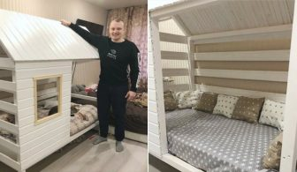 Молодой папочка своими руками построил кроватку для сына. Золотые руки!
