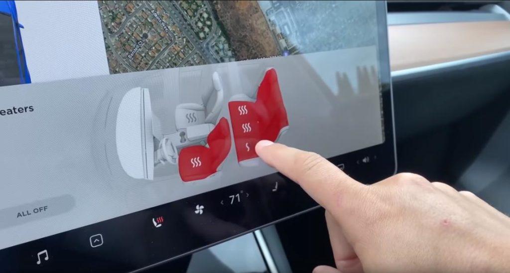 Управление обогревом сидений в Tesla Model Y