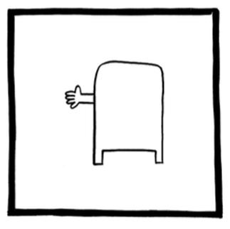 Человек в почтовом ящике сигнализирует о левом повороте.