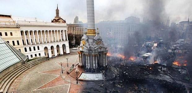 Киев: До и после столкновения на Майдане