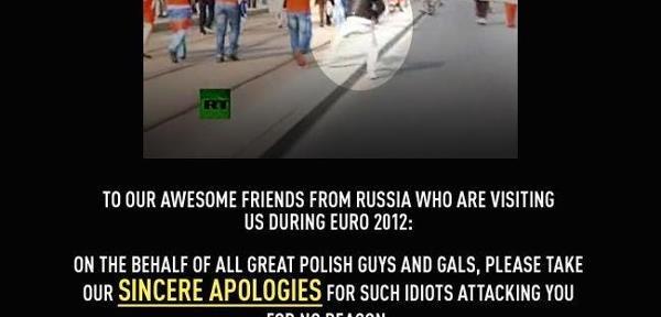 На страничке польской газеты в Facebook польские «ребята и девчата» искренне просят прощения у россиян за «идиотов, напавших безо всяких причин»