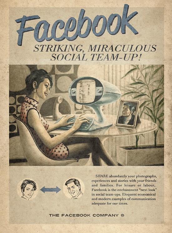 Реклама Facebook, YouTube, Skype и Twitter в стиле 60-х